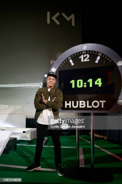 Kylian Mbappé poses at the event Let's Play by Hublot at Mk2 Bibliotheque on December 12 2018 in Paris France