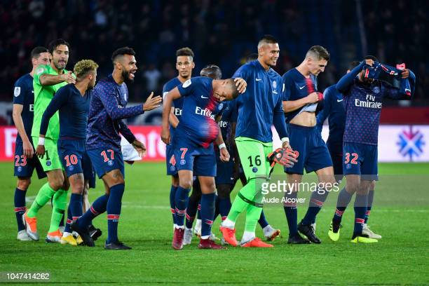 Kylian Mbappe and Alphonse Areola of Psg celebrate victory during the Ligue 1 match between Paris Saint Germain and Lyon at Parc des Princes on...