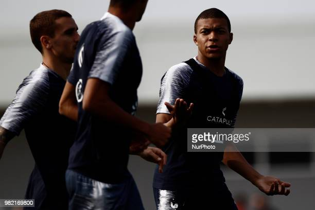 Kylian Mbappe and Antoine Griezmann of France take part in a training session at the Glebovets stadium in Istra on June 23 during the Russia 2018...