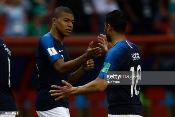 Kylian Mbappe and Nabil Fekir of France during the 2018 FIFA World Cup Russia group C match between France and Australia at Kazan Arena on June 16...