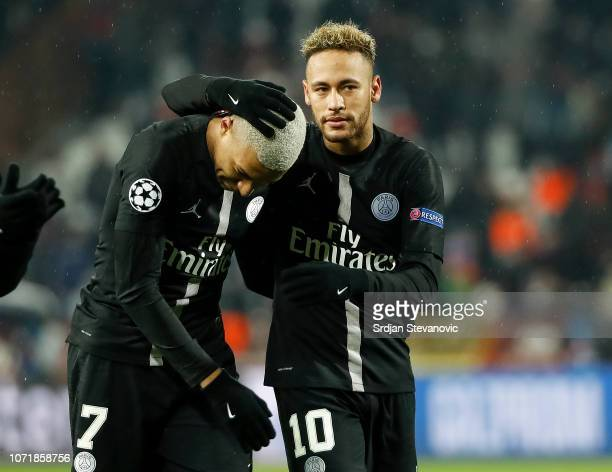 Kylian Mbappe and Neymar of Paris SaintGermain celebrate after the UEFA Champions League Group C match between Red Star Belgrade and Paris...