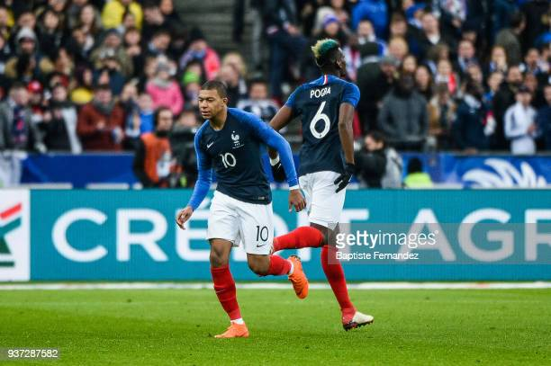 Kylian Mbappe and Paul Pogba of France during the International friendly match between France and Colombia on March 23 2018 in Paris France