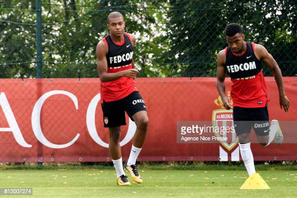 Kylian Mbappe and Thomas Lemar of Monaco during training session of As Monaco on July 10 2017 in Monaco Monaco
