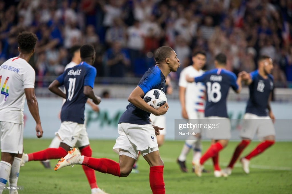 Kylian Mbappe celebrates a goal of France during the friendly football match between France and USA at the at the Parc Olympique lyonnais stadium in Decines-Charpieu, near Lyon on June 9, 2018.
