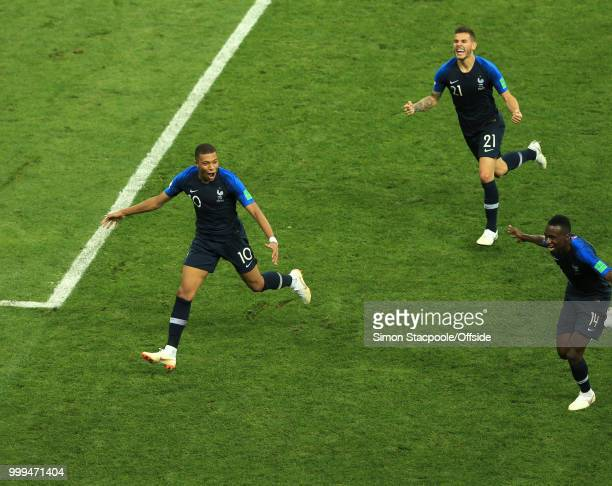 Kylian Mbappe celebrates the fourth goal for France during the 2018 FIFA World Cup Russia Final between France and Croatia at the Luzhniki Stadium on...