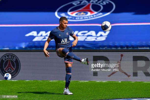 Kylian Mbappe controls the ball as the Paris Saint-Germain unveils the new Jordan kit on May 17, 2021 in Paris, France.