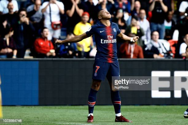 Kylian Mbappe during the French L1 football match Paris SaintGermain vs Angers on August 25 2018 at the Parc des Princes in Paris