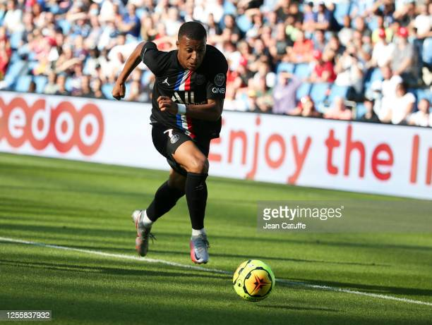 Kylian Mbappe during the friendly match between Le Havre and Paris Saint Germain at Stade Oceane on July 12, 2020 in Le Havre, France.