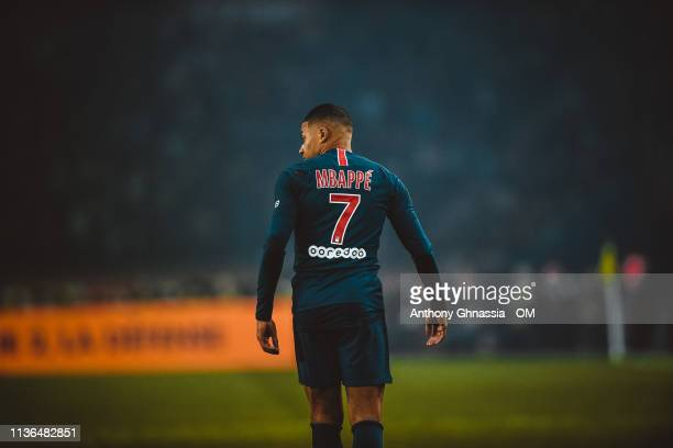 Kylian MBappe during the Ligue 1 match between Paris Saint Germain and Olympique de Marseille at Parc des Princes on March 17 2019 in Paris France