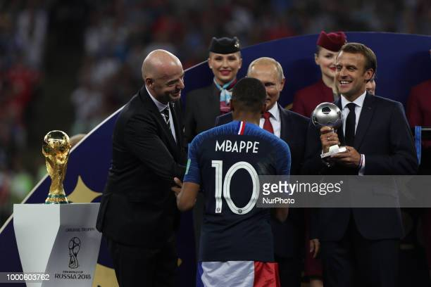 Kylian Mbappe Emmanuel Macron Vladimir Putin Gianni Infantino during Russia 2018 World Cup final football match between France and Croatia at the...
