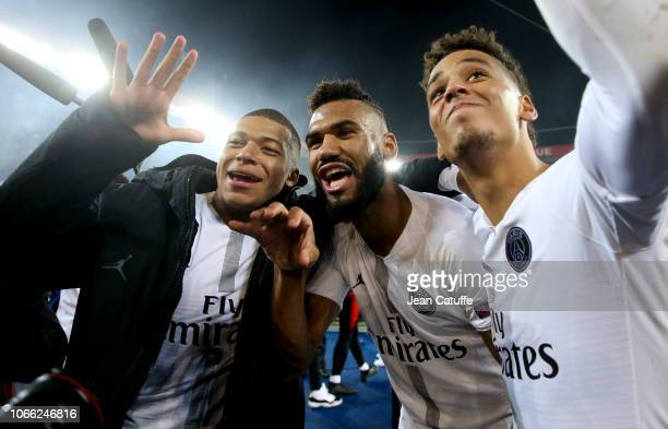 Kylian Mbappe, Eric Maxim Choupo-Moting, Thilo Kehrer of PSG celebrate the victory following the Group C match of the UEFA Champions League between...