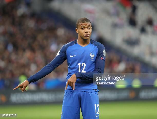 Kylian Mbappe in action during the FIFA World Cup 2018 qualifying Group A match between France and Belarus at the Stade de France in SaintDenis north...