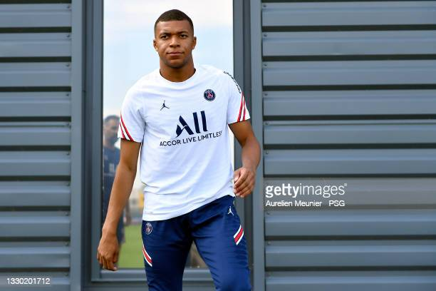 Kylian Mbappe looks on during a Paris Saint-Germain training session at Ooredoo Center on July 23, 2021 in Paris, France.