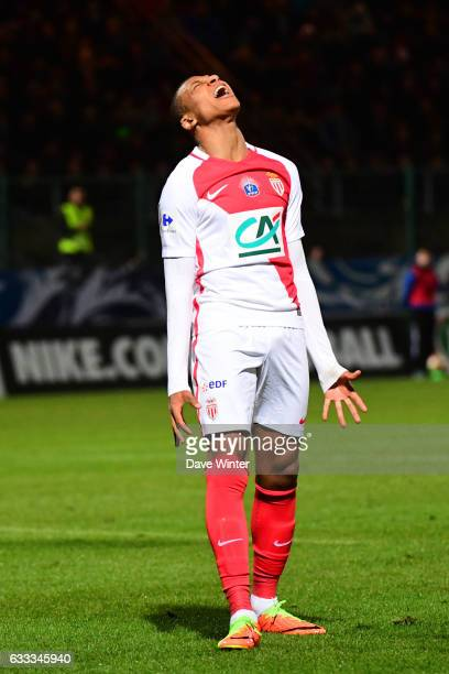 Kylian Mbappe Lottin of Monacolooks dejected as he shoots wide during the French National Cup match between Chambly and AS Monaco, Round of 32 on...
