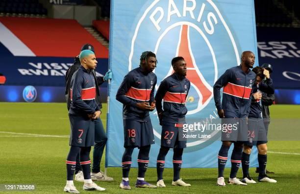 Kylian Mbappe, Moise Kean, Idrissa Gueye and Danilo of Paris Saint-Germain pose before the Ligue 1 match between Paris Saint-Germain and Fc Lorient,...