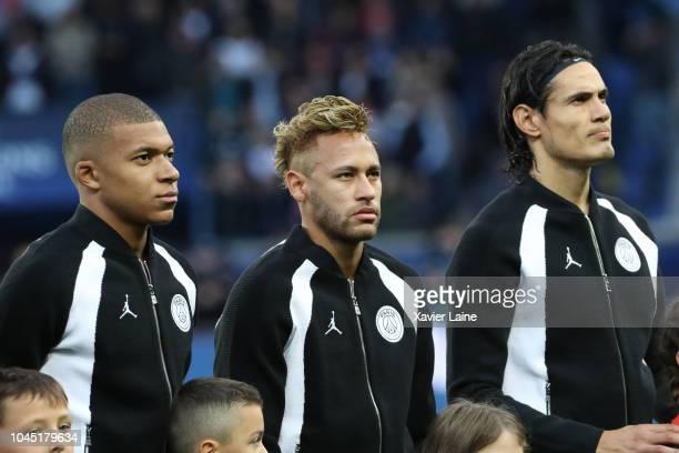 Kylian Mbappe Neymar Jr and Edinson Cavani of Paris SaintGermain pose before the Group C match of the UEFA Champions League between Paris...