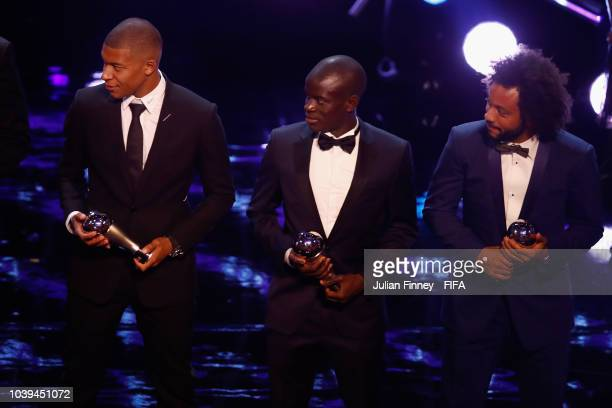 Kylian Mbappe N'Golo Kante and Marcelo receive their FIFA FIFPro World11 awards during The Best FIFA Football Awards at Royal Festival Hall on...