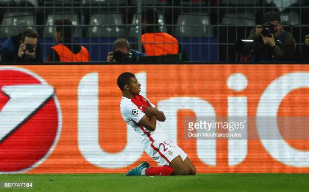 Kylian Mbappe of AS Monaco celebrates after scoring his team's third goal of the game during the UEFA Champions League Quarter Final first leg match...
