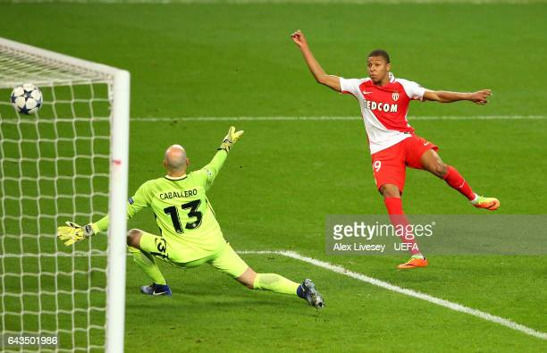Kylian Mbappe of AS Monaco dscores their second during the UEFA Champions League Round of 16 first leg match between Manchester City FC and AS Monaco...