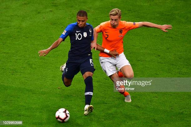 Kylian Mbappe of France and Frenkie de Jong of Netherlands during the Nations League match between France and Netherlands at Stade de France on...