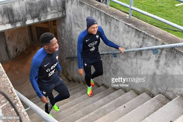 Kylian Mbappe of France and Ousmane Dembele of France during the training session before the FIFA World Cup 2018 qualifying match between Luxembourg...