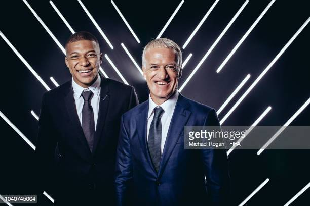 Kylian Mbappe of France and Paris SaintGermain and Kylian Mbappe Manager of France are pictured inside the photo booth prior to The Best FIFA...