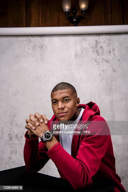 Kylian Mbappe of France and Paris SaintGermain poses for a portrait prior to The Best FIFA Football Awards at London Marriott Hotel County Hall on...
