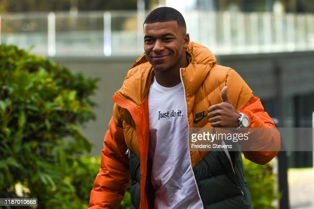 Kylian Mbappe of France arrives ahead of a training session on November 11 2019 in Clairefontaine France France will play against Moldova in their...