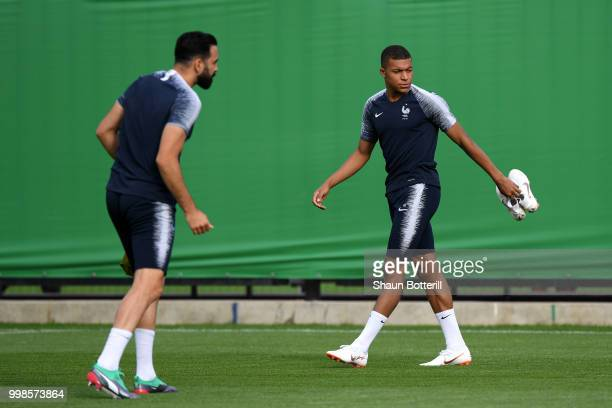 Olivier Giroud and Raphael Varane take part in a France training session during the 2018 FIFA World Cup at Luzhniki Stadium on July 14 2018 in Moscow...