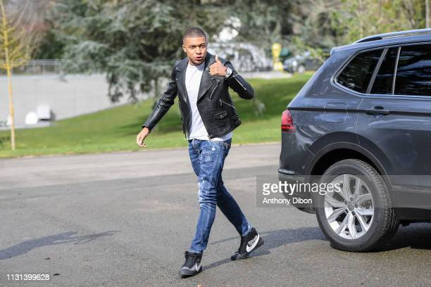 Kylian Mbappe of France arrives at on March 18 2019 in ClairefontaineenYvelines France