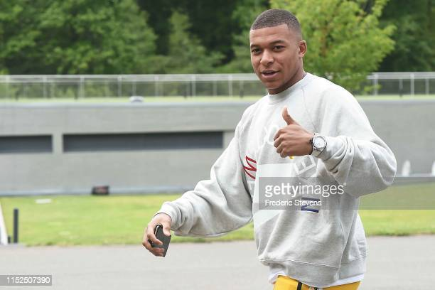 Kylian Mbappe of France arrives at the National Football Centre as part of the preparation to UEFA Euro 2020 on May 29, 2019 in Clairefontaine,...