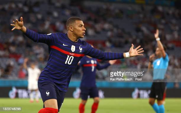 Kylian Mbappe of France celebrates a goal which is later ruled out for offside during the UEFA Euro 2020 Championship Group F match between France...