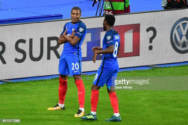 Kylian Mbappe of France celebrates after putting his side 4-0 ahead during the Fifa 2018 World Cup qualifying match between France and Netherlands at...