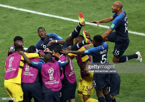 Kylian Mbappe of France celebrates after scoring a goal during the 2018 FIFA World Cup Russia Final between France and Croatia at Luzhniki Stadium on...