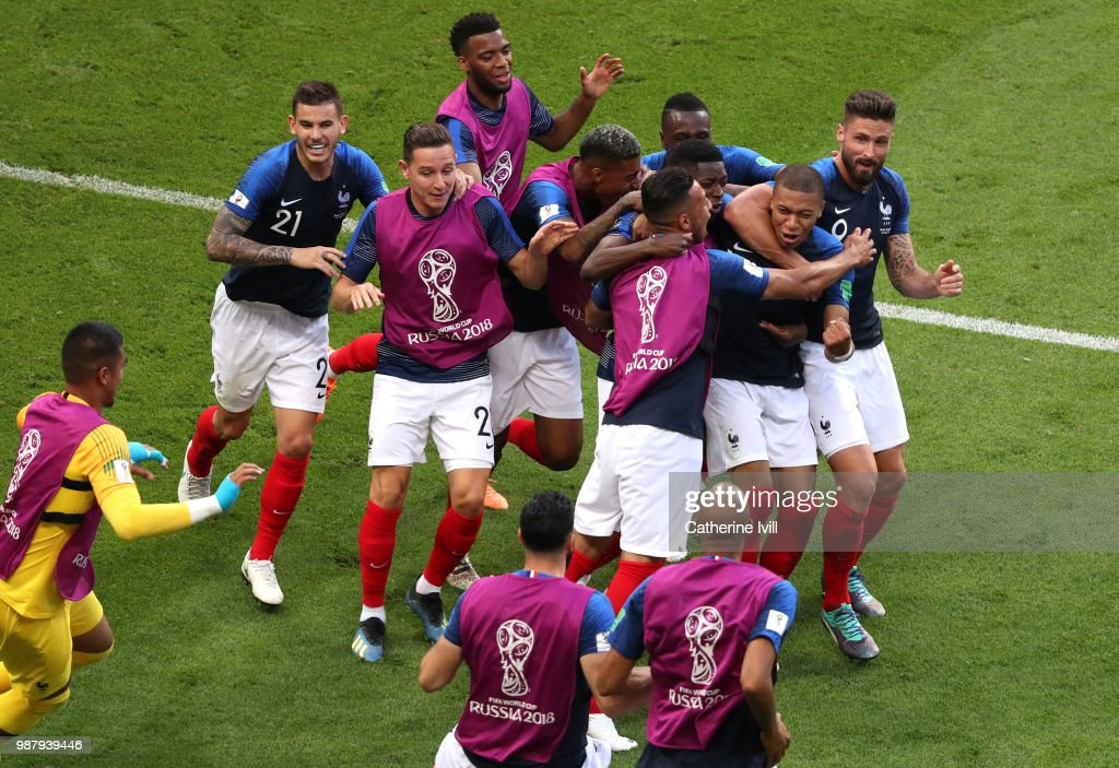 Kylian Mbappe of France celebrates after scoring his side's fourth goal with team mates during the 2018 FIFA World Cup Russia Round of 16 match between France and Argentina at Kazan Arena on June 30, 2018 in Kazan, Russia.