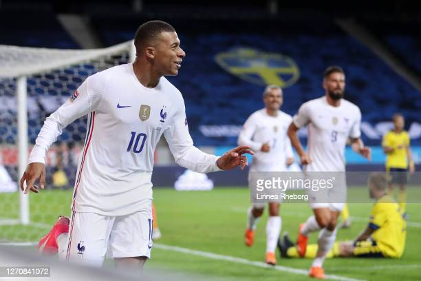 Kylian Mbappe of France celebrates after scoring his team's first goal during the UEFA Nations League group stage match between Sweden and France at...