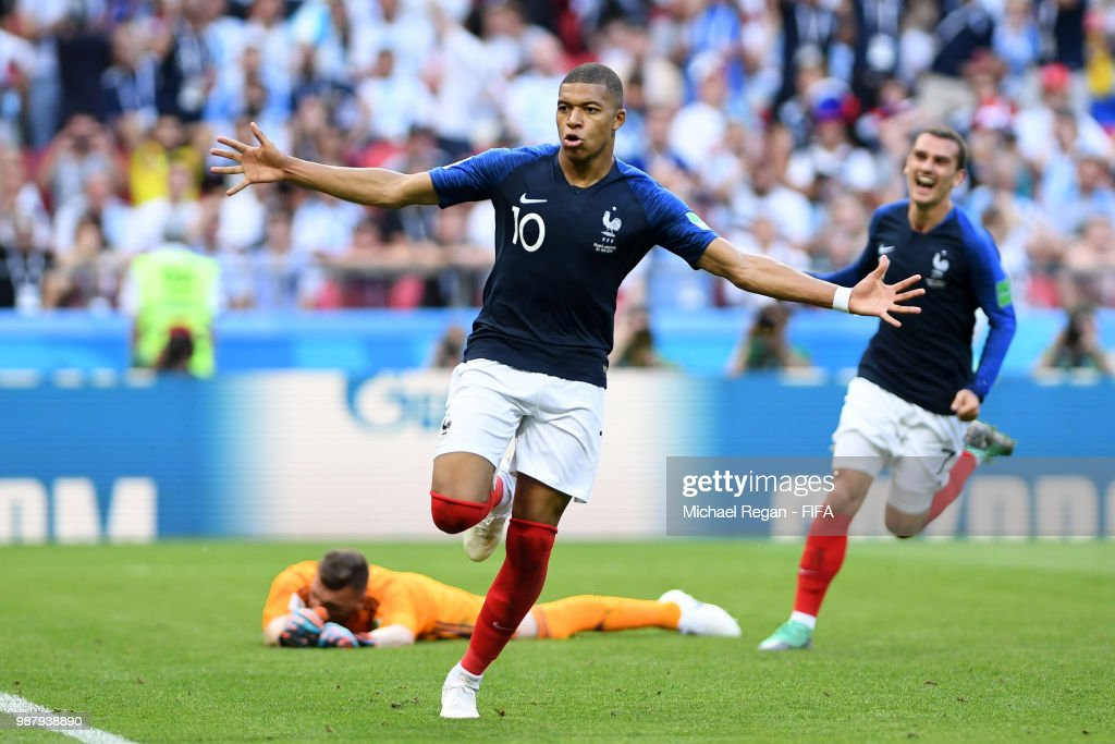 Kylian Mbappe of France celebrates after scoring his team's fourth goal during the 2018 FIFA World Cup Russia Round of 16 match between France and Argentina at Kazan Arena on June 30, 2018 in Kazan, Russia.
