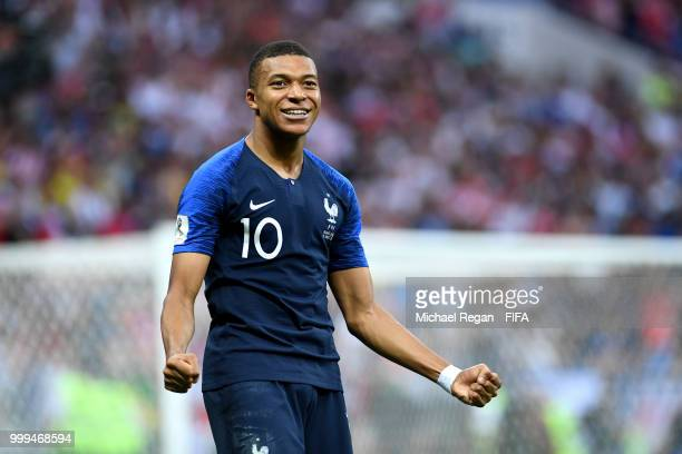 Kylian Mbappe of France celebrates after scoring his team's fourth goal during the 2018 FIFA World Cup Final between France and Croatia at Luzhniki...