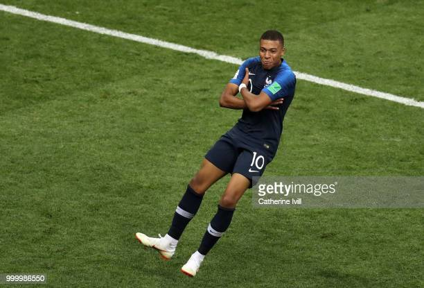 Kylian Mbappe of France celebrates after scoring his team's fourth goal during the 2018 FIFA World Cup Russia Final between France and Croatia at...