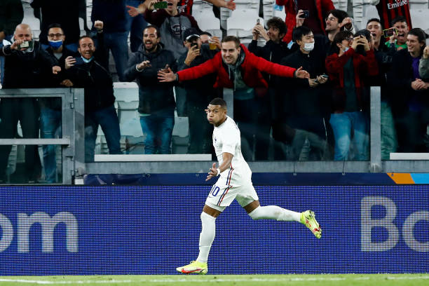 Kylian Mbappe of France celebrates after scoring his team's second goal during the UEFA Nations League Semi-Final match between the Belgium and...