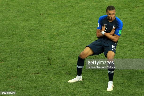 Kylian Mbappe of France celebrates after scoring their 4th goal during the 2018 FIFA World Cup Russia Final between France and Croatia at the...