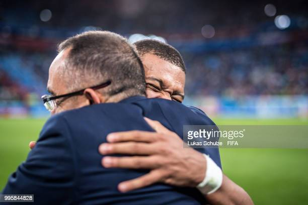 Kylian Mbappe of France celebrates after the 2018 FIFA World Cup Russia Semi Final match between Belgium and France at Saint Petersburg Stadium on...