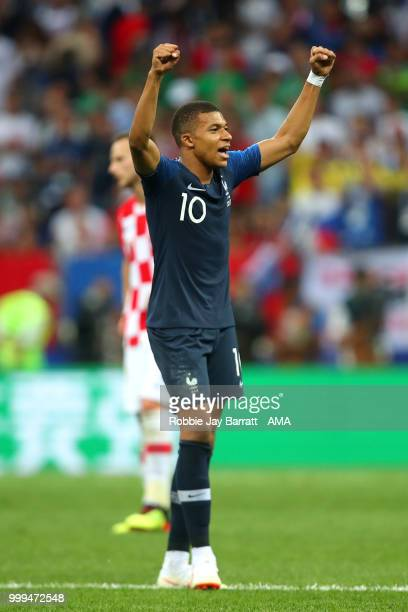 Kylian Mbappe of France celebrates during the 2018 FIFA World Cup Russia Final between France and Croatia at Luzhniki Stadium on July 15, 2018 in...