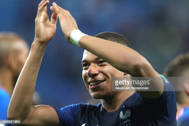 Kylian Mbappe of France celebrates following his sides victory in the 2018 FIFA World Cup Russia Semi Final match between Belgium and France at Saint...