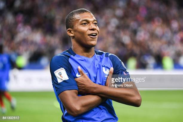 Kylian Mbappe of France celebrates his goal during the Fifa 2018 World Cup qualifying match between France and Netherlands at Stade France on August...