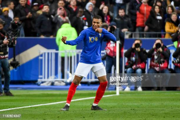 Kylian Mbappe of France celebrates his goal during the Qualifying European Championship 2020 match between France and Iceland at Stade de France on...