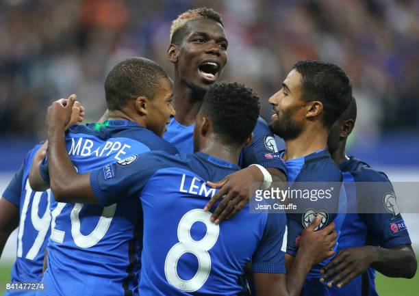 Kylian Mbappe of France celebrates his goal with Paul Pogba Nabil Fekir and teammates during the FIFA 2018 World Cup Qualifier between France and the...