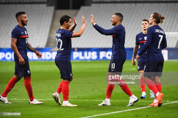 Kylian MBAPPE of France celebrates his goal with Wissam BEN YEDDER of France during the international friendly match between France and Ukraine on...