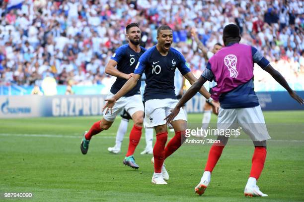 Kylian Mbappe of France celebrates his second goal during the FIFA World Cup Round of 16 match between France and Argentina at Kazan Arena on June 30...