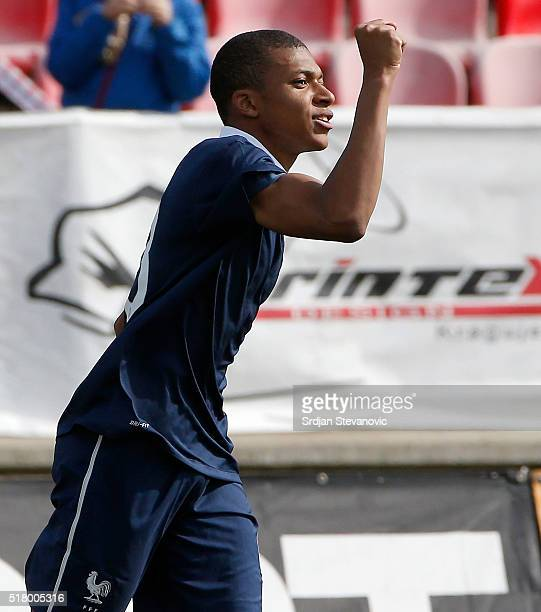 Kylian Mbappe of France celebrates scoring a goal during the UEFA European U19 Championship Elite Round Group 7 match between Serbia and France at...